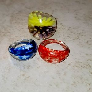 3 Glass Rings